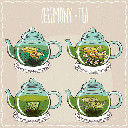 brewed: Set of different brewed useful teas, with mint, jasmine, bergamot, ginger and lime. Beige background and ornate lettering Ceremony tea. Handmade cartoon style