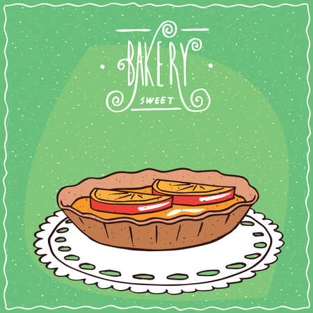 afters: Tartlet with orange or lemon slices, lie on lacy napkin. Green background and ornate lettering bakery. Handmade cartoon style