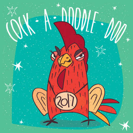 Cartoon cunning and arrogant cock or rooster, stands and frowns on cyan background. Cock a doodle doo lettering Illustration