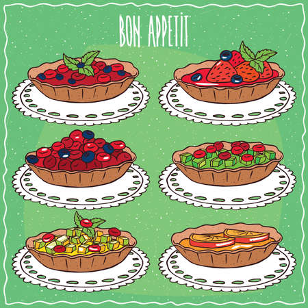 afters: Set of different tartlets, with red and blue berries, green leaves, orange or lemon, kiwi or apple slices, with fresh strawberries. Handmade cartoon style