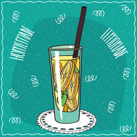 drinkable: Homemade classic lemonade in a glass with straw, lie on lacy napkin. Cyan background. Handmade cartoon style