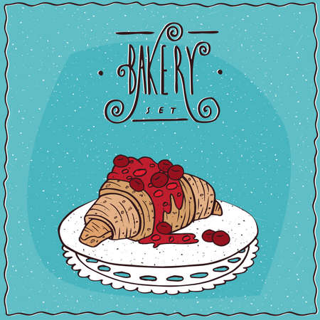 bun: Beautiful croissant drizzled with syrup or jam of red berries, lie on lacy napkin. Blue background and ornate lettering bakery. Handmade cartoon style Illustration