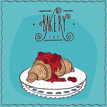 Mooie croissant drizzled met siroop of jam van rode bessen, liggen op lacy servet. Blauwe achtergrond en het overladen van letters bakkerij. Handmade cartoon stijl