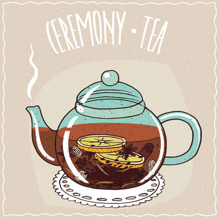 brewed: Transparent glass teapot with hot brewed christmas tea with lemon, cinnamon, ginger and anise. Ornate lettering Ceremony tea. Handmade cartoon style