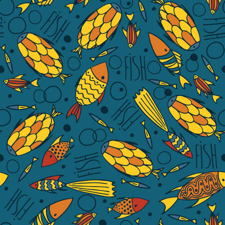 manner: Seamless pattern with small yellow fishes in a chaotic manner on blue background. Handmade cartoon style