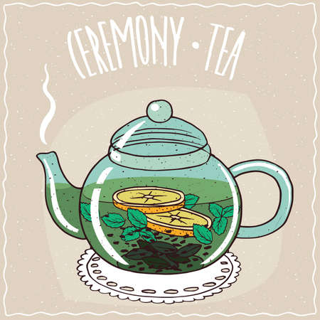 Transparent glass teapot with hot brewed tea with mint, lie on a lacy napkin. Beige background and ornate lettering Ceremony tea. Handmade cartoon style