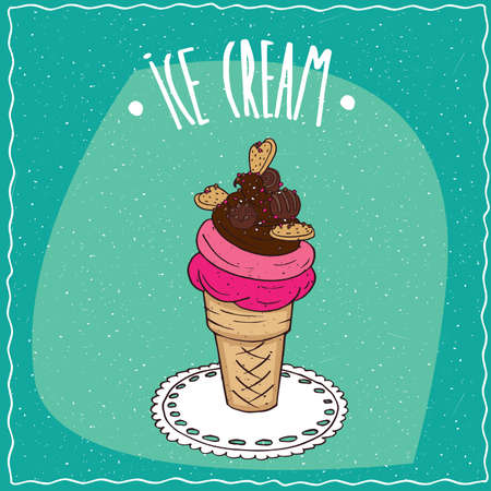 afters: Great waffle cone with fruit and chocolate ice cream, cookies and colored sprinkles, is on the lacy napkin. Cyan background. Handmade cartoon style