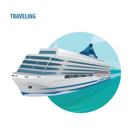 open sea: Round emblem on white background with huge beautiful cruise ship in the open sea on a clear day. Front view. Traveling or journey concept