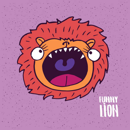 Cute lion with open mouth on slightly desaturated magenta background. Lettering funny lion. Handmade cartoon style
