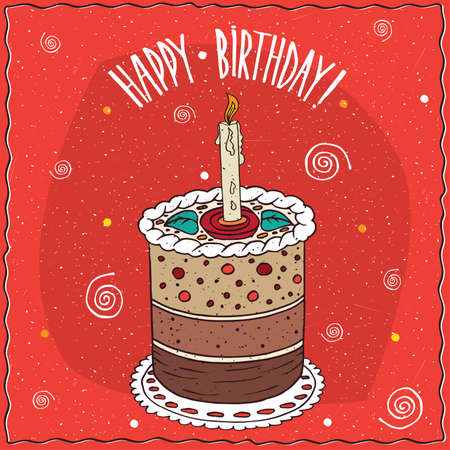 goody: Perfect cake round shape with burning candle, with several layers, lie on lacy napkin. Happy birthday concept. Handmade cartoon style Illustration
