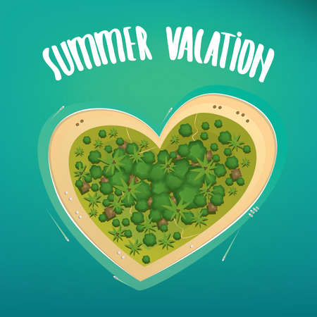 pleasure: Secluded and comfortable tropical island in the shape of a heart on the high seas. Lettering summer vacation. Heavenly pleasure or paradisaic delight concept