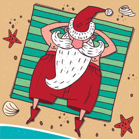 Cartoon carefree Santa Claus in red, lying on the beach by the sea and sunbathing. Around the sand, starfish and seashell. View from above