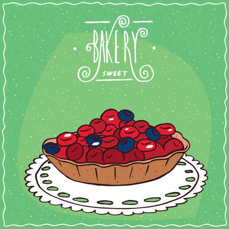 cartoon berries: Tartlet with red and blue berries, lie on lacy napkin. Green background and ornate lettering bakery. Handmade cartoon style Illustration