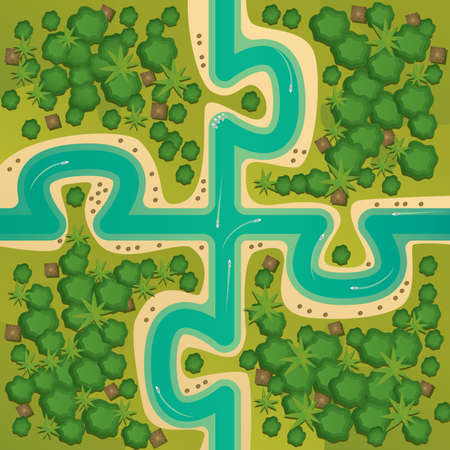 concordance: Aerial view of several islands in the form of connecting puzzles. Between the islands of the river on which the floating boats. Coherent whole or single entity concept