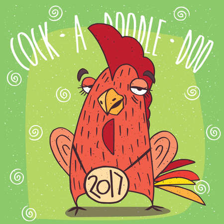 harbinger: Cartoon drunken cock or rooster, stands and has covered eyes on green background. Cock a doodle doo lettering