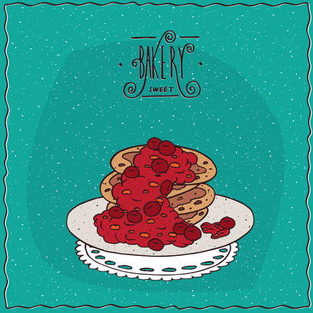 afters: Stack of pancakes with red berries, cherry or currant, lie on lacy napkin. Cyan background and ornate lettering bakery. Handmade cartoon style