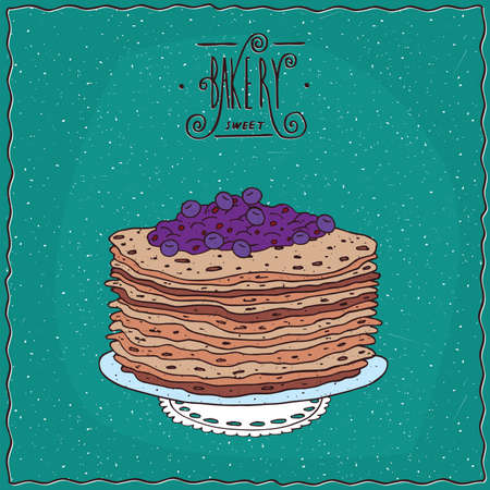 cartoon berries: Stack of thin pancakes with blue berries, blueberry or currant, lie on lacy napkin. Cyan background and ornate lettering bakery. Handmade cartoon style Illustration
