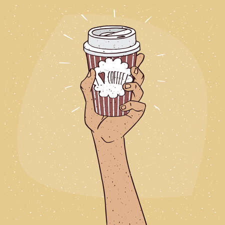Extended upwards hand holding shiny trendy paper cup of coffee, on which the inscription I love coffee. Beige background. Handmade cartoon style