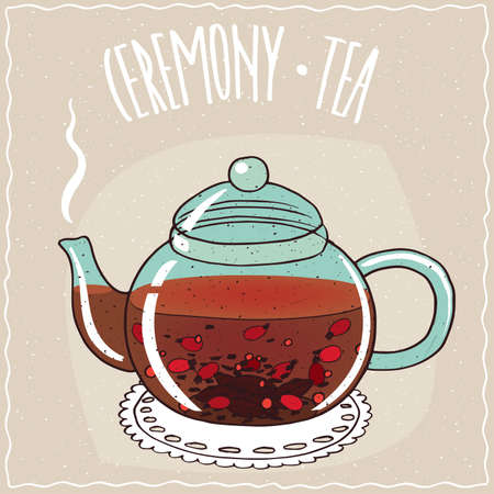 brewed: Transparent glass teapot with hot brewed tea rosehip, lie on a lacy napkin. Beige background and ornate lettering Ceremony tea. Handmade cartoon style