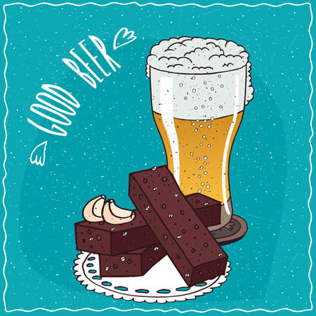 Garlic bread with glass of light beer. Blue background and lettering Good beer. Handmade cartoon style