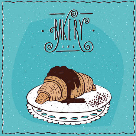 afters: Lovely croissant drizzled with chocolate, lie on lacy napkin. Blue background and ornate lettering bakery. Handmade cartoon style