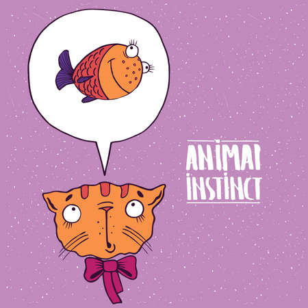 instinct: Cute cat with a bow, dreams of a fish. Animal instinct concept. Handmade cartoon style