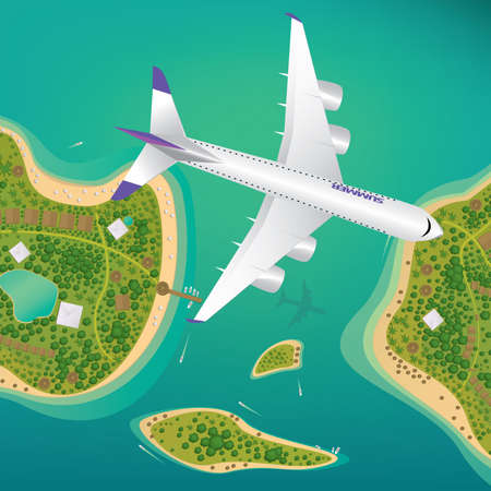 Plane flies over a few tropical islands of different sizes with beaches and houses. Around float boats. View from above. Air traffic or international flights concept Illustration