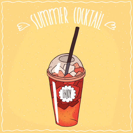 starter: Drink such as berry lemonade with ice in transparent plastic cup with straw, on which the inscription Enjoy. Ornate lettering Summer cocktail. Handmade cartoon style Illustration
