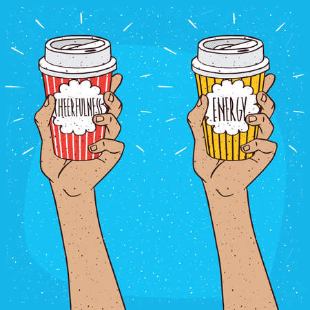 drinkable: Set of two extended upwards hands holding shiny trendy paper cup of coffee, on which the inscription Cheerfulness or Energy. Blue background. Handmade cartoon style