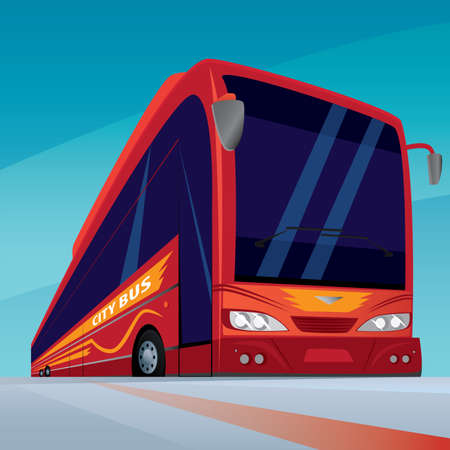 omnibus: Red modern passenger bus with sun glasses on the road. On the side there is an inscription city bus. Front view Illustration