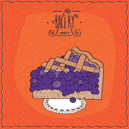 afters: Tasty blue berry pie, blueberry or currant, lie on lacy napkin. Red background and ornate lettering bakery. Handmade cartoon style Illustration
