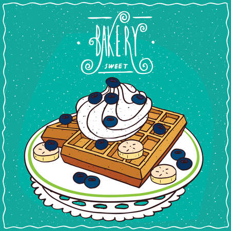 afters: Belgian waffles with blue berries, banana and whipped cream on plate, lie on lacy napkin. Cyan background and ornate lettering bakery. Handmade cartoon style Illustration
