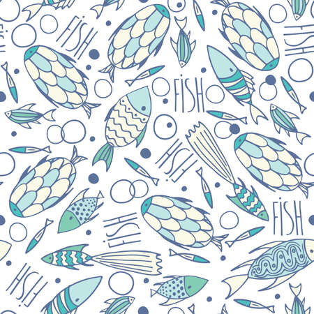 manner: Seamless pattern with small different fishes in a chaotic manner on soft white background. Handmade cartoon style
