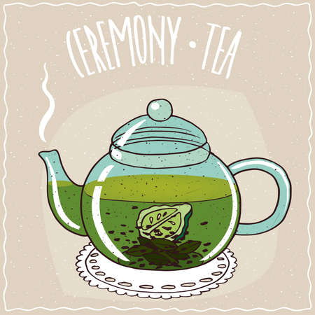 Transparent glass teapot with hot brewed tea with bergamot, lie on a lacy napkin. Beige background and ornate lettering Ceremony tea. Handmade cartoon style Illustration
