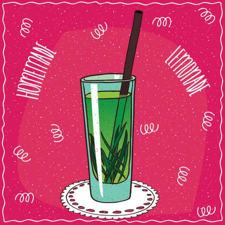 Homemade tarragon lemonade in a glass with straw, lie on lacy napkin. Magenta background. Handmade cartoon style