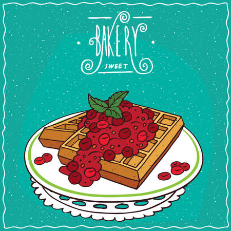 Belgian waffles with red berries on plate, lie on lacy napkin. Cyan background and ornate lettering bakery. Handmade cartoon style Illustration