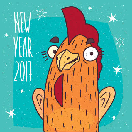 Close-up of cartoon playful cock or rooster stands and smiles on blue background. New Year 2017 lettering