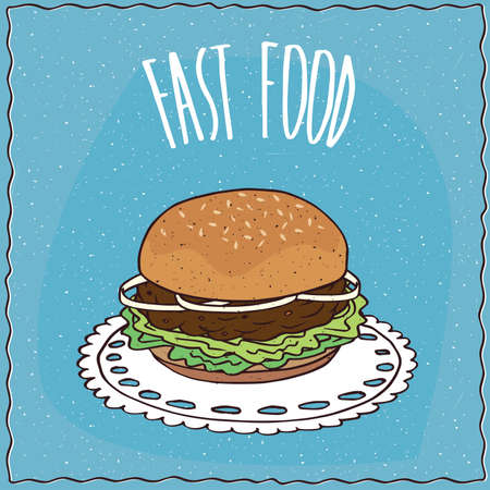 quickly: Classic hamburger with onion, steak and lettuce, lie on a lacy napkin. Blue background and lettering Fast food. cartoon style