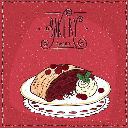 afters: Cherry Viennese strudel with vanilla ice cream, lie on lacy napkin. Red background and ornate lettering bakery. cartoon style Illustration