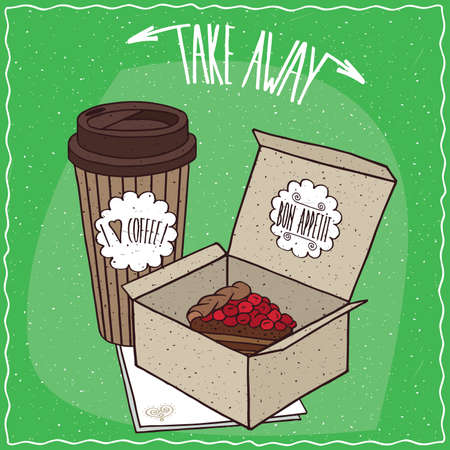 drinkable: Berry pie in carton box and coffee in paper cup, lie on napkin. Take away kit for breakfast concept. Green background. Handmade cartoon style Illustration
