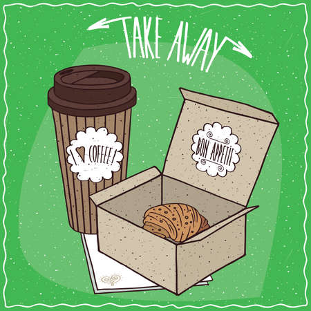 afters: Croissant in carton box and coffee in paper cup, lie on napkin. Take away kit for breakfast concept. Green background. cartoon style Illustration