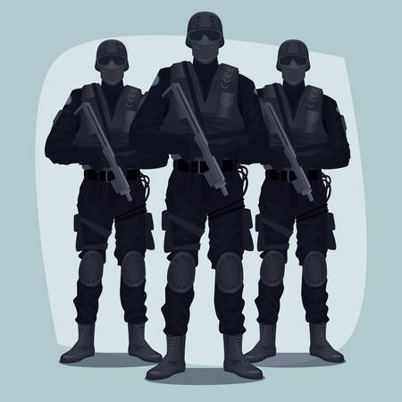 specialized job: Three people, Special Law Enforcement Units of Specialized Tactical Team, dressed in Army Combat Uniform and holding automatic firearms. Full face and full body Illustration
