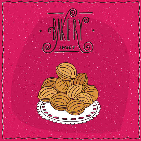 to lie: Cookies from a shortcake dough in the form of walnuts in shell, lie in a heap on a lacy napkin. Magenta background and ornate lettering bakery. Handmade cartoon style