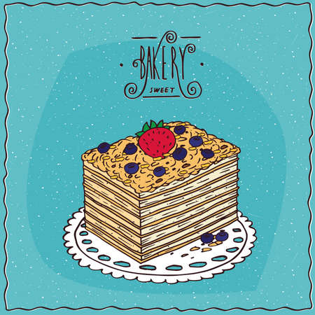 afters: Classic cake napoleon with blue berries and fresh strawberries, lie on lacy napkin. Blue background and ornate lettering bakery. cartoon style