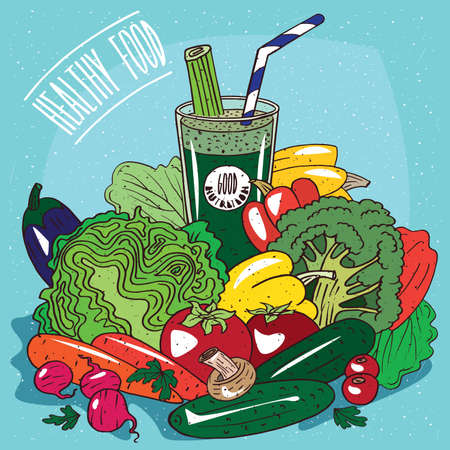 conspicuous: Big pile of different vegetables, such as Broccoli, Cabbage, Bell Pepper, Cucumber, Tomatoes, Carrots, Radish, and glass of green vegetable juice. Healthy Food Concept