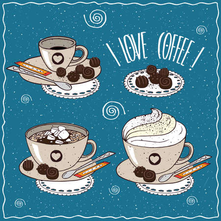 afters: Set of different cups of coffee, small cup, with marshmallow, whipped cream, sugar stick and chocolate candies. cartoon style