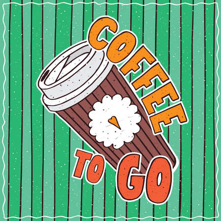 conspicuous: Conspicuous bright colorful food poster with funny cardboard coffee cup in cartoon style, on green striped background. Lettering Coffee To Go and Bon Appetit Illustration