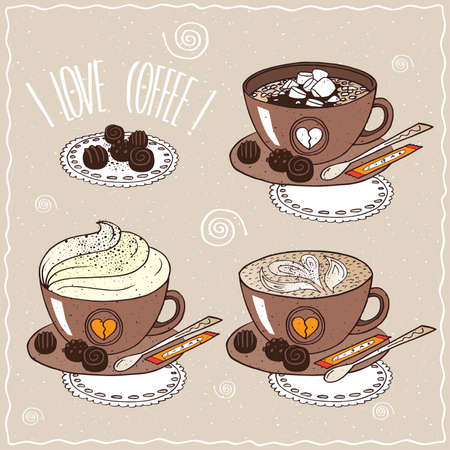 drinkable: Set of cups of coffee, with marshmallow, whipped cream, pattern of milk foam, on saucer with spoon, sugar stick and chocolate candies. cartoon style Illustration