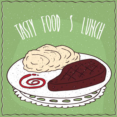 Delicious dish with Grilled Meat Steak and Portion of Mashed Potatoes, in cartoon style on green background.  Lettering Tasty Food And Lunch