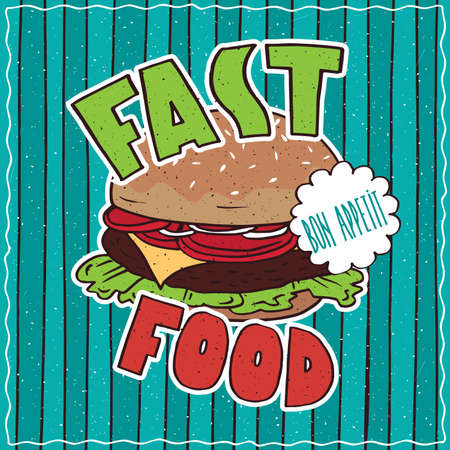 conspicuous: Conspicuous bright colorful food poster with delicious cheeseburger or hamburger in cartoon style, on cyan striped background. Lettering Fast Food and Bon Appetit